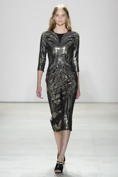 Chic black and silver dress by Jenny Peckham @ New York Fashion Week Spring Summer '16 #fashionweek #jennypeckham #rendezvousdelamode #couture #silver #black #threequarters #symmetry #embroidery