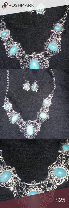 Silver plated turquoise necklace with matching ear Silver plated turquoise necklace with matching earrings good for a fun night out or business attire Jewelry Necklaces