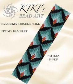 Pattern, peyote bracelet - Snakeskin like bargello peyote bracelet cuff PDF pattern