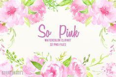 Watercolor Clipart So Pink Flowers by @Graphicsauthor