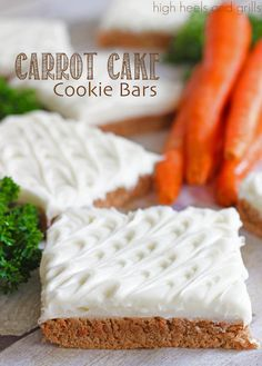 These Carrot Cake Cookie Bars from High Heels & Grills are easy to put together with pre-made carrot cake mix and fluffy cream cheese frosting. We're sure these will be a hit at your next Sunday brunch. Easy Easter Desserts, Kid Desserts, Easter Recipes, Delicious Desserts, Yummy Food, Spring Recipes, Easter Food, Carrot Cake Cookies, Carrot Cake Bars