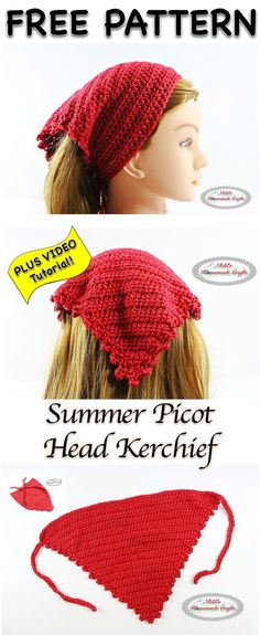 Crochet Blusas Design Summer Picot Head Kerchief - Free Crochet Pattern and video at Nicki's Homemade Crafts. - This free pattern is called the Summer Picot Head Kerchief as it is perfect for the summer because it is light weight Picot Crochet, Easy Crochet, Free Crochet, Crochet Hair Accessories, Crochet Hair Styles, Summer Accessories, Crochet Style, Crochet Crafts, Crochet Projects