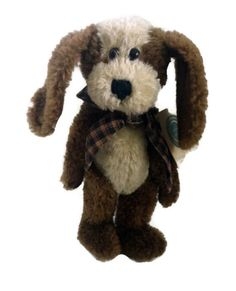 """Boyds Bears Clancy G Hydrant Jr 10"""" Brown White Dog  Retired #5404 Plaid Scarf #AllOccasion"""