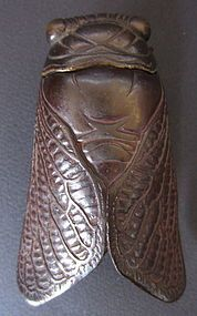 Japanese Antique Bronze Cicada Box /   small bronze box in the form of a cicada, wings come off to reveal small compartment / Taisho Period