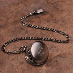 Classic yet contemporary, our personalized classic-style Gunmetal Pocket Watch has a handsome black face with Roman numerals and includes a gunmetal gray finish.