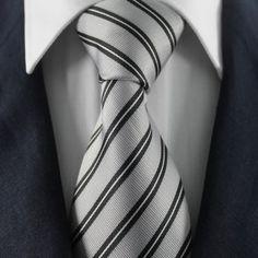 Silver White & Black Striped Neckties / Formal Business Neckties.