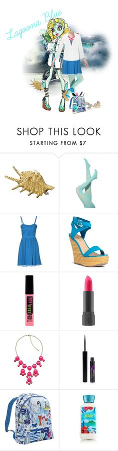 """Lagoona Blue"" by spectrastarlight ❤ liked on Polyvore featuring Buccellati, GUESS by Marciano, Lab, JustFab, Maybelline, Bite, Max Factor, Urban Decay and Miquelrius"