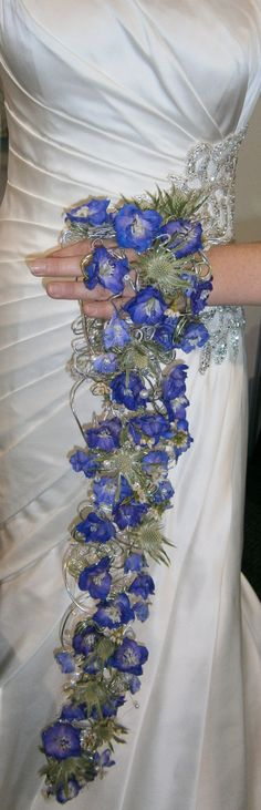 Delphinium and thistle wrist shower bouquet - delphiniums and thistles available for Scottish brides in July. Contact The Stockbridge Flower Company for more details. Corsage, February Wedding, Delphiniums, Flower Company, Thistles, Bridal Bouquets, Playing Dress Up, Homecoming, Brides
