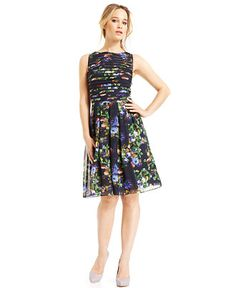Adrianna Papell Floral-Print Pleated Flared Dress - Dresses - Women - Macy's