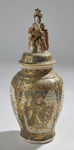 """Japanese Satsuma covered urn with female figure finial - 20.5""""H"""