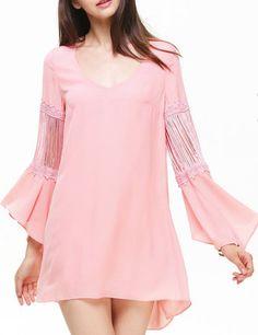 Pink Flare Long Sleeve Tassel Embellishment Hi-lo Dress