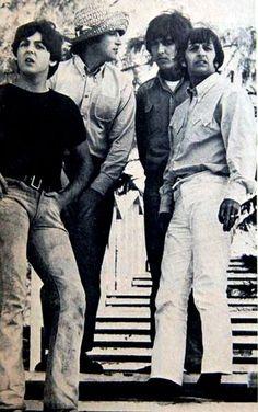 Paul McCartney, John Lennon, George Harrison, and Richard Starkey (Filming Help in the Bahamas - The Beatles)