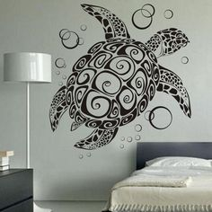 Amazon.com: Sea Turtle Ocean Wall Decal Turtle Wall Sticker Under The Sea Animals Wall Decor Vinyl Tortoise Wall Decal Wall Graphic Wall Mural Home Art Decor Black: Home & Kitchen