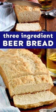This easy beer bread recipe is going to become a go to for parties or just a great bread for your soup! Spicy Recipes, Bread Recipes, Cooking Recipes, Delicious Recipes, Easy Recipes, Three Ingredient Recipes, Good Food, Yummy Food, Beer Bread