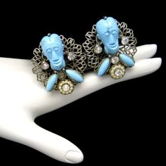 Signed SELRO Vintage Clip Earrings Rare Blue Devil Genie Faces Silver Plated #Selro #Cluster