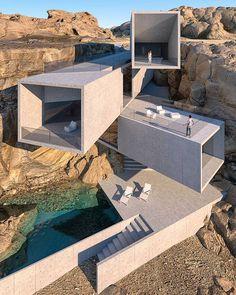 Outlandish Concrete Dream Homes In Outlandish Settings Water Architecture, Modern Architecture House, Futuristic Architecture, Modern House Design, Amazing Architecture, Interior Architecture, Parasitic Architecture, Dynamic Architecture, Creative Architecture