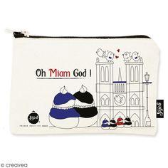 Pochette Oh Miam God - Taille S - Collection Cocorico - 22 x 12 cm