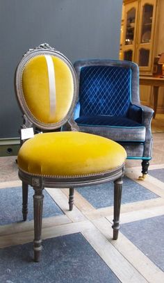 Two tone blue and gray chair