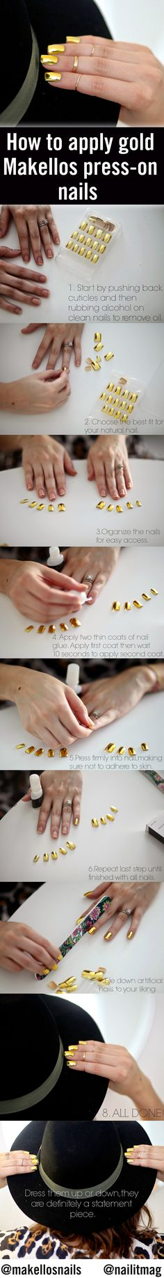 How to apply shiny gold metallic Makellos press-on nails!