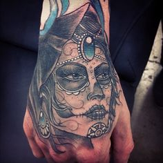 Female Goddess Tattoo Design 2017 for Hand in Black and Blue Ink Sugar Skull Tattoos, Hand Tattoos, Cool Tattoos, Amazing Tattoos, Sugar Skulls, Tatoos, Tattoo Design For Hand, Tattoo Designs, Tattoo Ideas