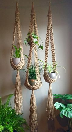 Double venus macramé plant hangers choose one or sets retro bohemian duo matching or order any one large long jute boho hippie Macrame Plant Hanger Patterns, Macrame Plant Holder, Macrame Patterns, Crochet Plant Hanger, Macrame Design, Macrame Art, Macrame Projects, Macrame Knots, Micro Macrame