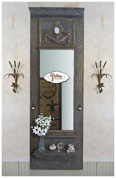 This mirror is beautiful and uses a few of our wooden appliques at Patina Paradise!!