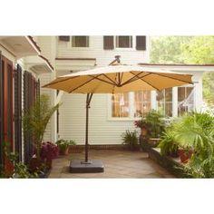 Hampton Bay 11 Ft Solar Ed Patio Umbrella In Tan Uxs01601c At