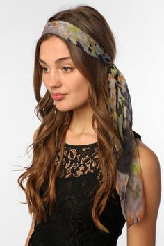 I wish I could pull off this look...Chiffon Hair Scarf