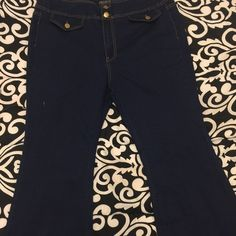 Forever 21 Plus Size Jean Fitted Stretchy Long Dark Denim Wide Leg Great Comfy Fit Forever 21 Jeans Flare & Wide Leg