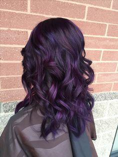 Purple balayage hair plum purple hair, violet hair, beautiful hair co Balayage Hair Purple, Dark Purple Hair, Plum Hair, Violet Hair, Hair Color Purple, Hair Color And Cut, Hair Dye Colors, Plum Purple, Love Hair