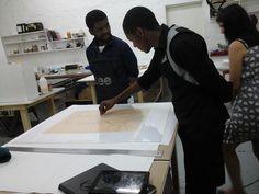 Senzo Shabangu, Studio Visit, lithograph proofs.