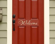 Hello Decal - Front Door Decal - Script Decal - Front Door Welcome Decor Front Door Numbers, Front Door Colors, Front Door Decor, Front Porch, Front Entry, House Numbers, Entryway Decor, Christmas Decals, Merry Christmas