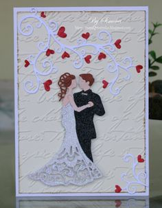 Simona Lupscha: Papiart for CottageBLOG: Bride & Groom - 5/26/14.  (Dies: Bride & Groom; Sweet Flourish).  (Pin#1: Dies: Cottage Cutz.  Pin+: Anniversary/ Wedding).