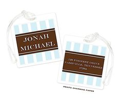 Light Blue & Brown Stripe Luggage Tag  #HolidayGiftIdeas #ChristmasGiftIdeas #StockingStuffers