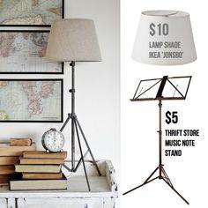 Music Stand Ikea hack to make tripod lamp...$15