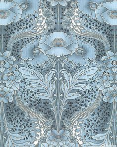 Poppy Symmetry in Antique Blue. This striking, large-scale, limited palette design recreates the bold fluid lines of the Art Nouveau era. It has elegant poppies surrounded by flowing vines and fluttering leaves | Robert Kaufman Fabrics