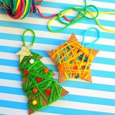 Let the ornament crafting commence! Christmas Crafts For Kids, Christmas Projects, Holiday Crafts, Christmas Time, Christmas Ornaments, Holiday Decor, Ornament Crafts, Teaching Art, Preschool Crafts