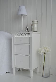 Bedside cabinet in white with three drawers for storage. White bedroom furniture. Affordable bedside tables, large range of sizes and styles with fast delivery from The White Lighthouse