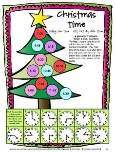 Review telling the time with this Christmas math board game from Christmas Math Games Second Grade by Games 4 Learning $