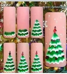 32 Great Ideas Nail Art Design for Wintry Mood 15 - Nails Art Ideas Nail Art Noel, Xmas Nail Art, Holiday Nail Art, Xmas Nails, Winter Nail Art, Nail Art Diy, Christmas Tree Nail Art, Christmas Nail Art Designs, Simple Wedding Nails