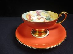 Vintage Aynsley Tea Cup & Saucer Salmon w/Gold Gilt and Rust /White flowers