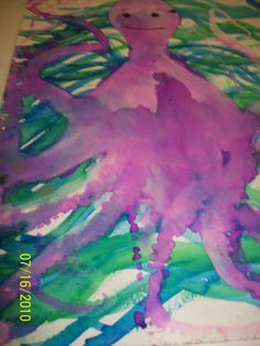 We love doing this at camps! used with an Eric Carle book this is a liquid watercolor created with a REAL Octopus... not for the faint at heart... campers.... one they never forget! Can be a great art and science lesson too. Boys love this!!! Created by Amy Smith instructor for Out of the Box art studio