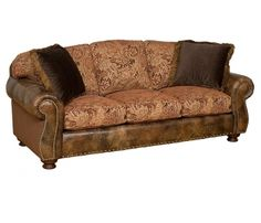 leather and cloth couches | Helen Leather/fabric Sofa by King Hickory