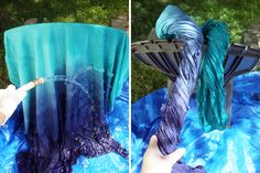 How to Make a Dip Dyed Ombre Shower Curtain | Brit + Co. for Lindsey