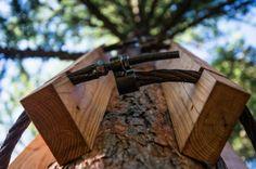 Inovação com materiais reciclados: Casa na árvore + elevador/bicicleta