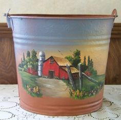 Rust paint by American accents. Sky colors-spray painted with Krylon satin Acrylic farm scene - Debbie Towes design Fruit Painting, Bottle Painting, Love Painting, Bottle Art, Painting On Wood, Painted Milk Cans, Milk Can Decor, Decorative Painting Projects, Primitive Painting