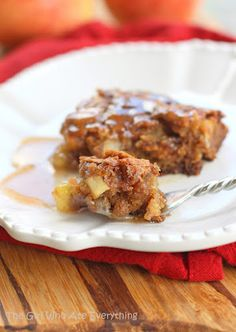 Apple Pudding Cake with Cinnamon Butter Sauce - use #vegan butter, flax egg and almond milk