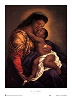 Madonna and Child by Tim Ashkar is a work of art illustrating baby Jesus Christ being embraced happily by his mother Mary. Madonna Und Kind, Madonna And Child, Catholic Art, Religious Art, Religious Images, Religious Icons, Mother Mary, Mother And Child, African American Art