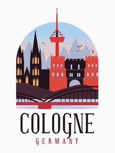 Cologne Germany, Europe, Neutral Colors, Tshirt Colors, Classic T Shirts, Illustration Art, Graphic Design, City, Bridge