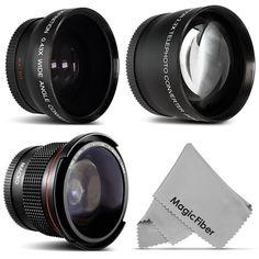 52MM Altura Fisheye + Wide Angle & Telephoto Lens for Nikon D7100 D5200 D3200